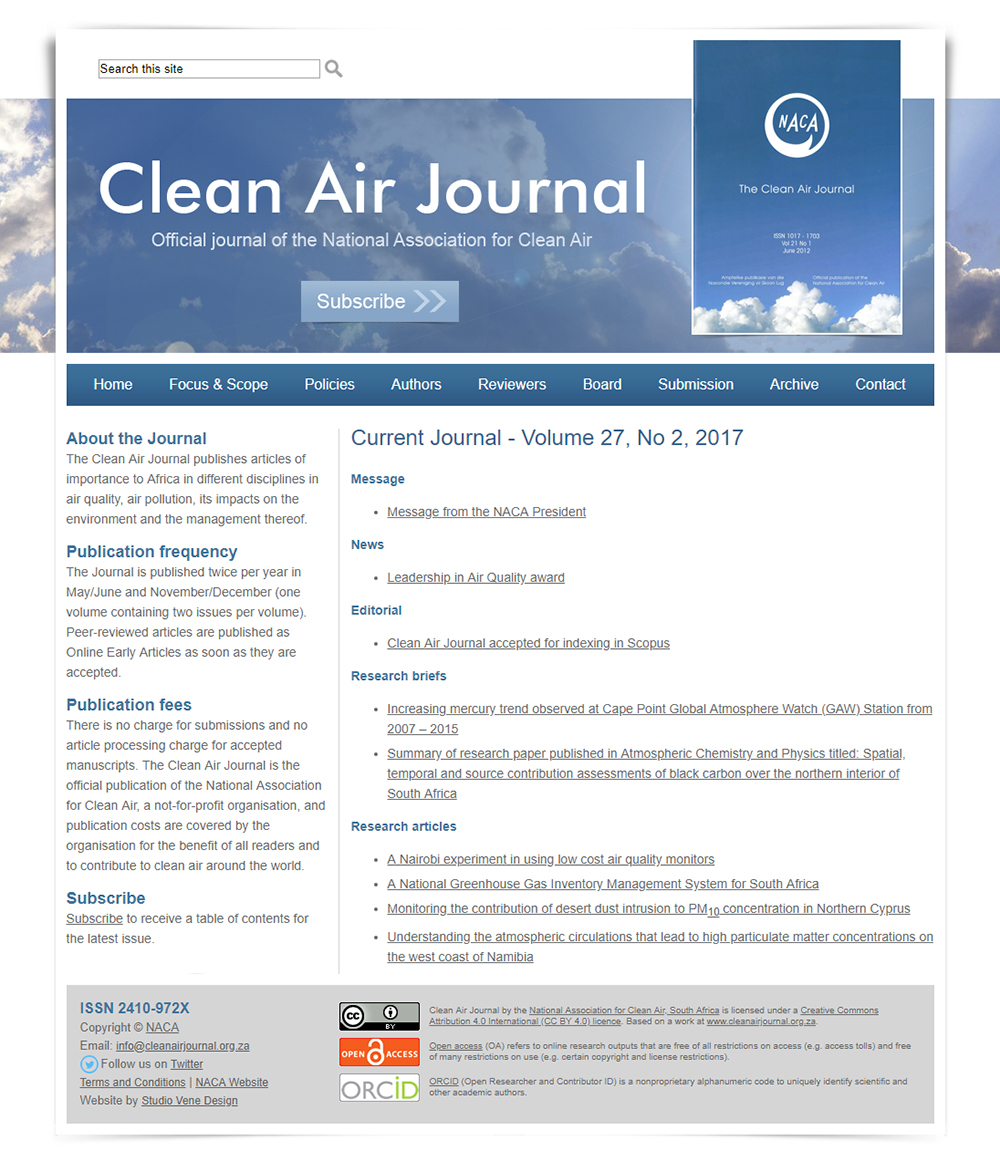 Clean Air Journal website home page