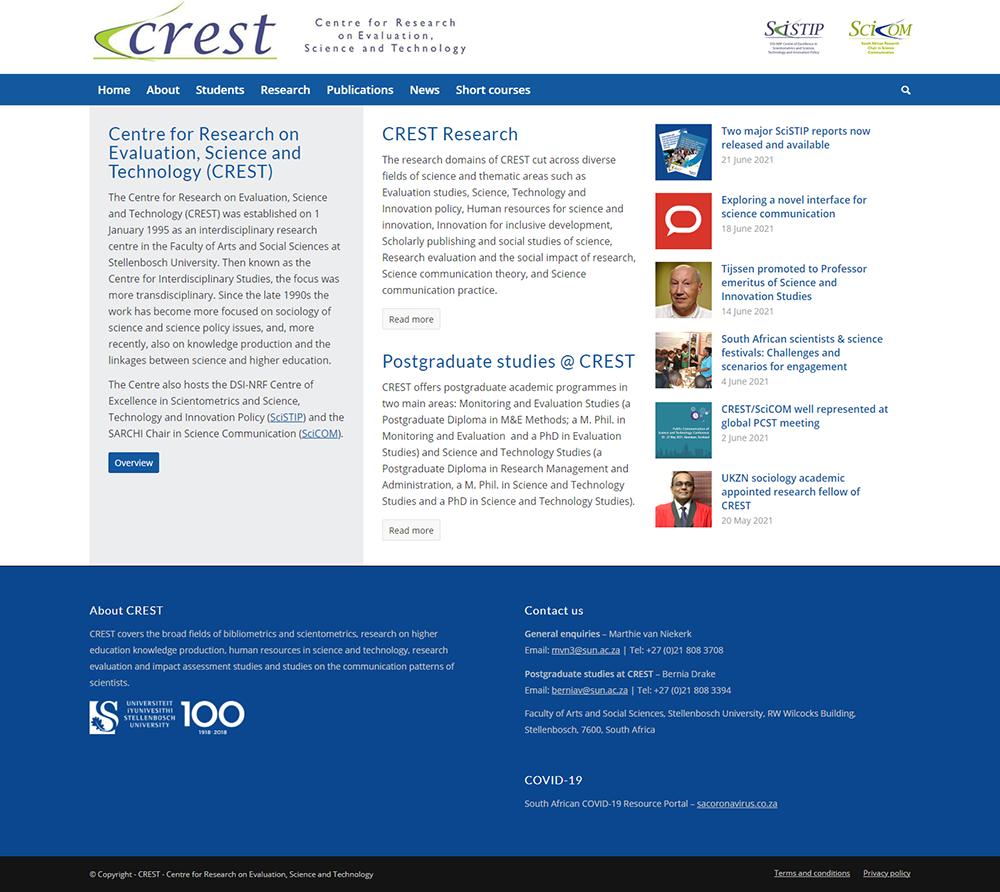 CREST website home page