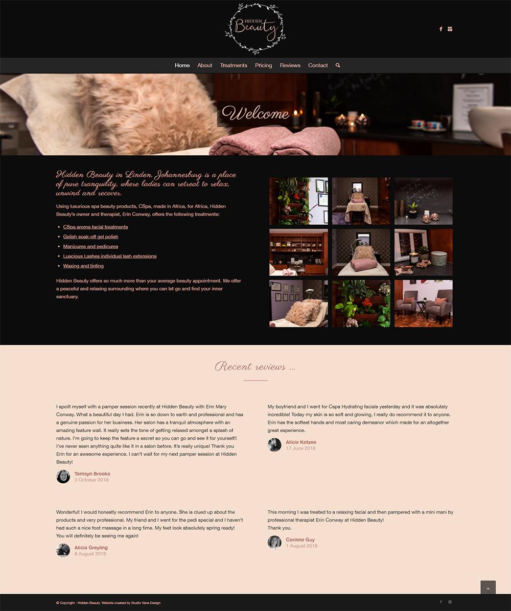 Hidden Beauty website home page