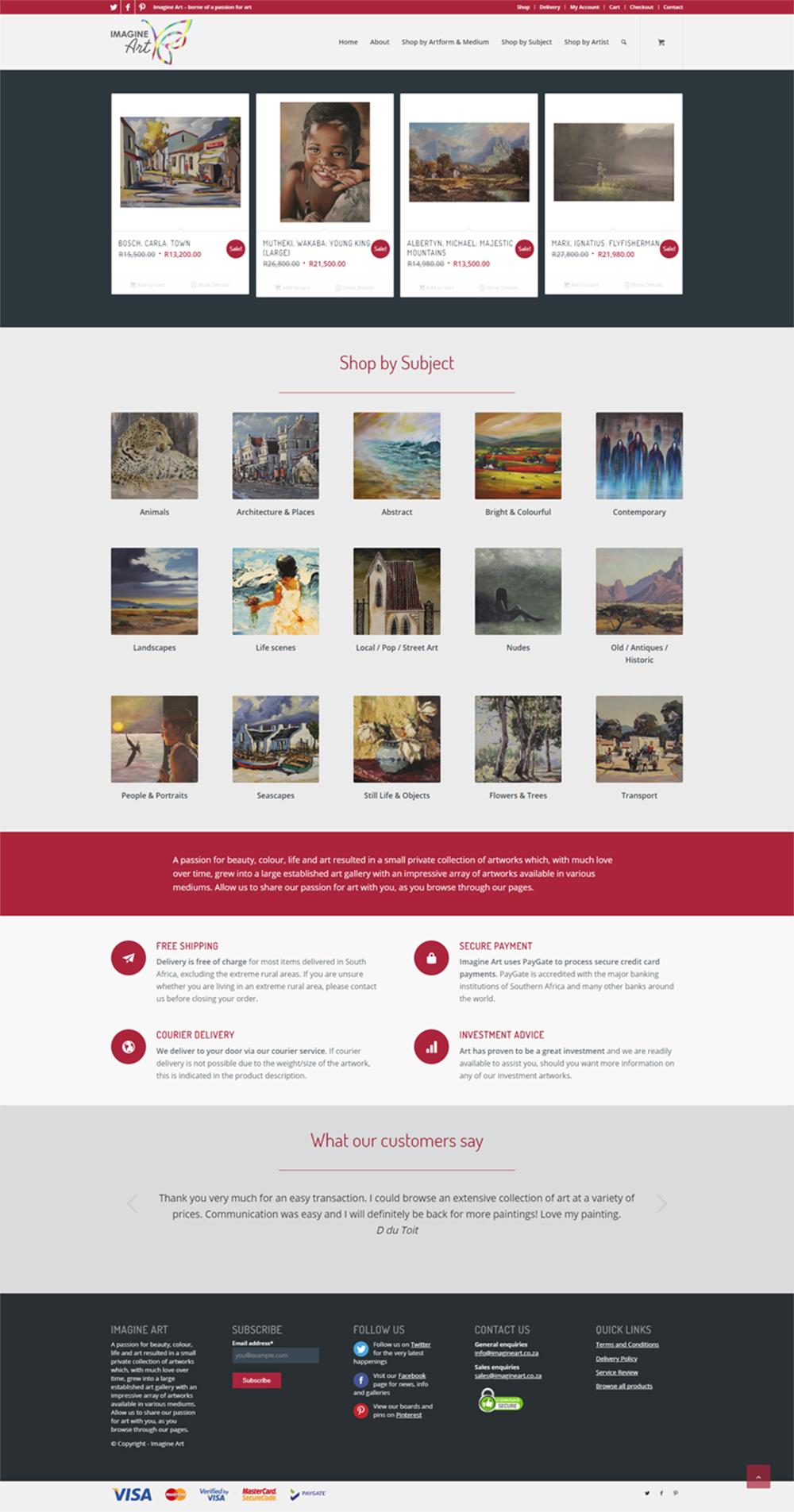 Imagine Art website home page