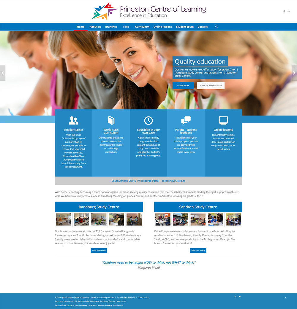 Princeton Centre of Learning website home page