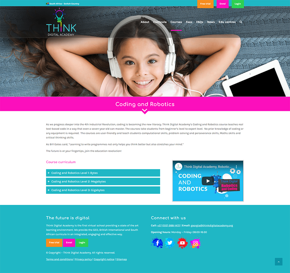 Think Digital Academy website content page