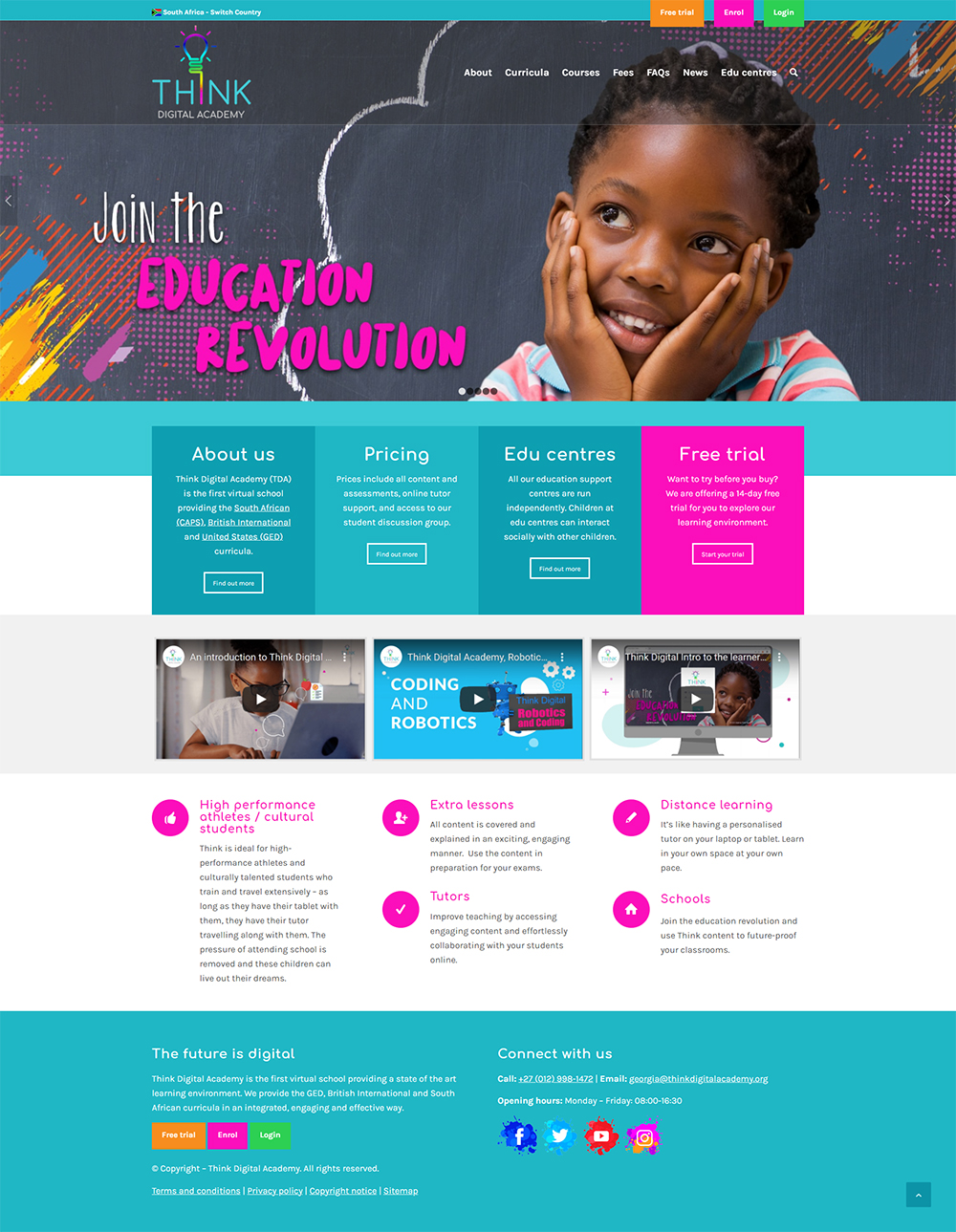 Think Digital Academy website home page