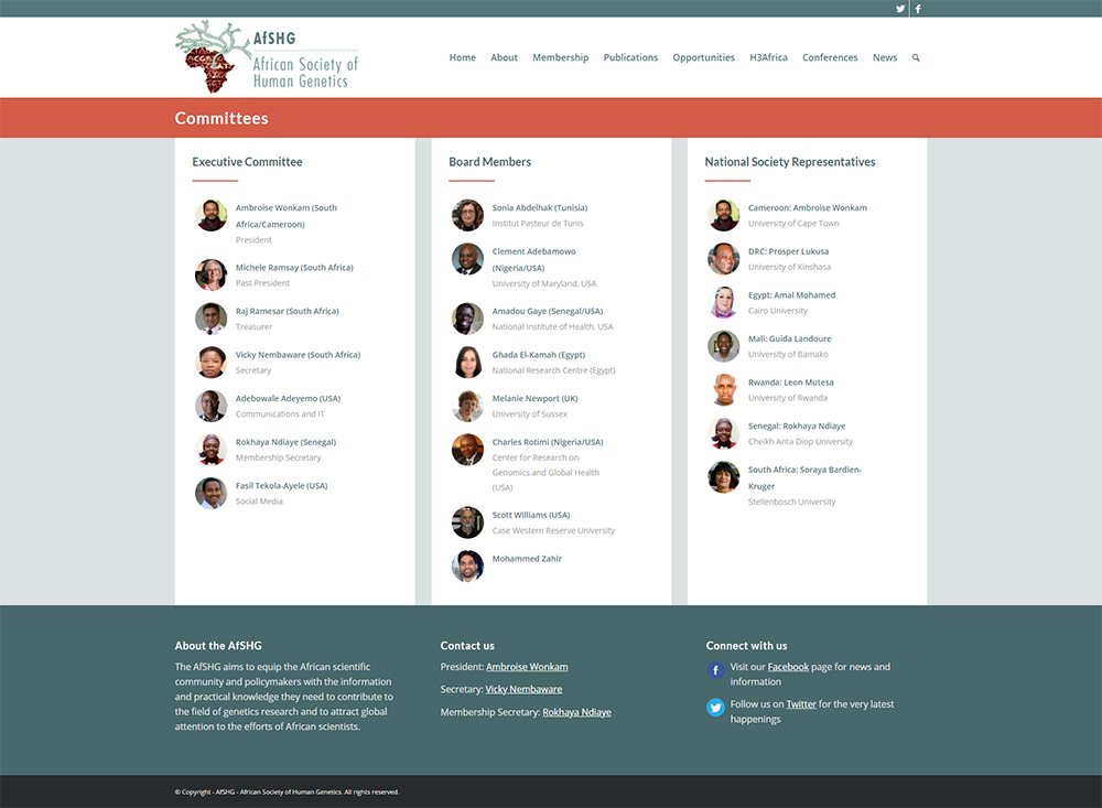 AfSHG membership website content page