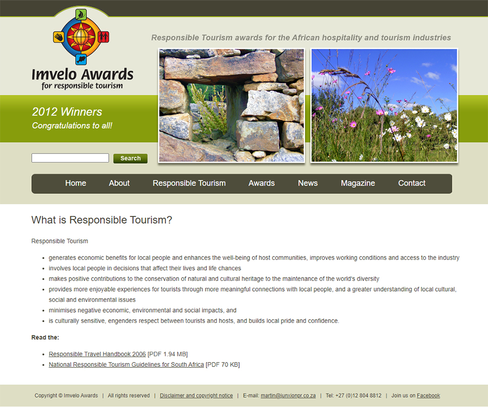 Imvelo Awards website content page