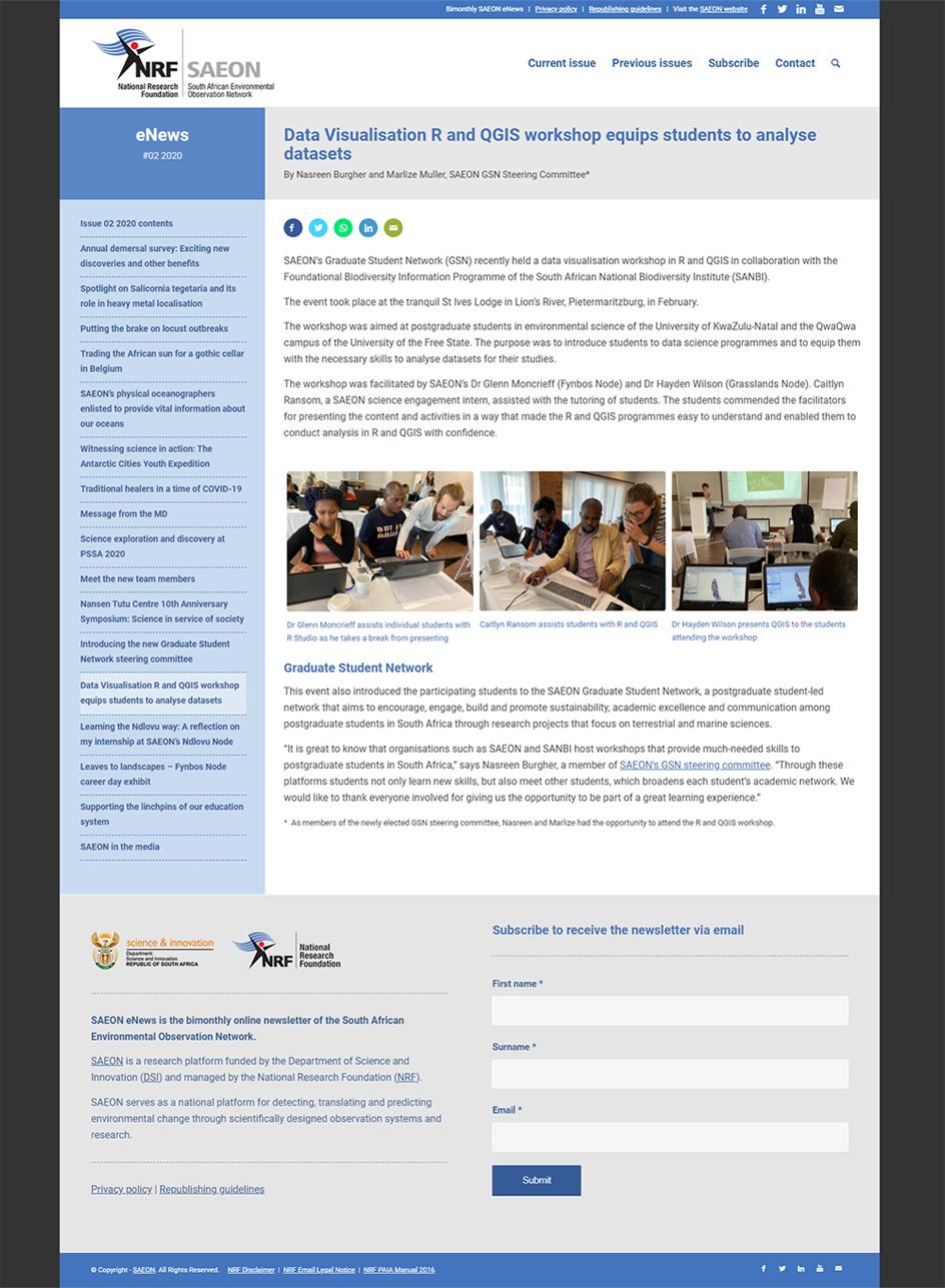 SAEON eNews website article page